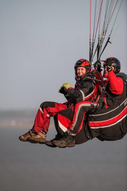 Mette paragliding at Toftum Bjerge, Struer